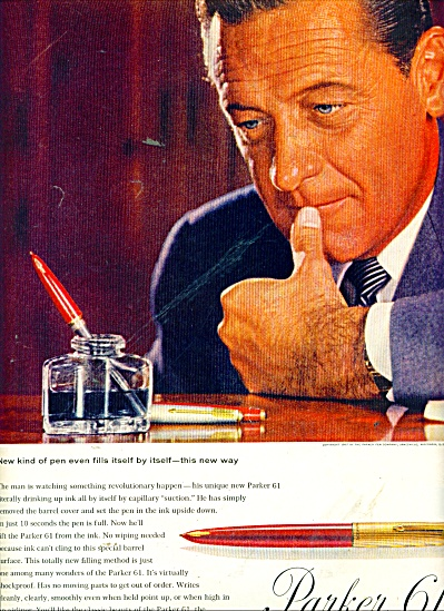 Parker 61 capillary fen - WILLIAM HOLDEN  ad (Image1)