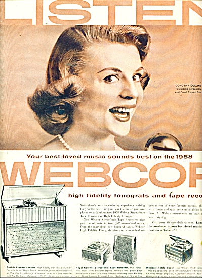 1957 Webcor  STEREO ad - DOROTHY COLLINS ad (Image1)