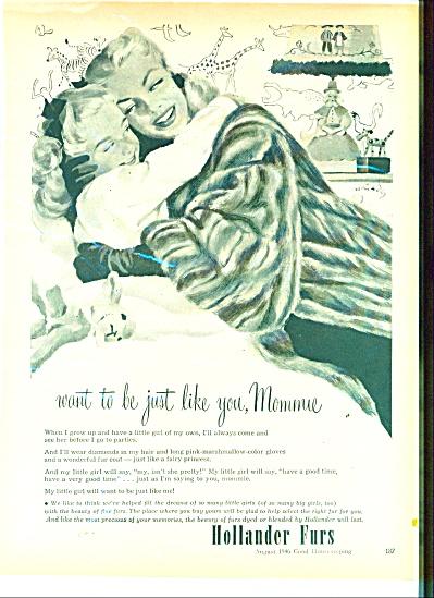 1946 FREDERIC VARADY ART Hollander FURS AD (Image1)