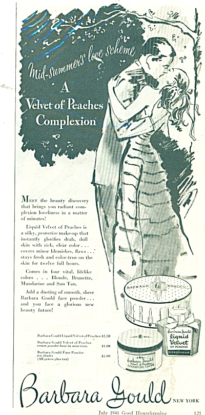 1946 Barbara GOULD Make Up AD COUPLE KISSING (Image1)