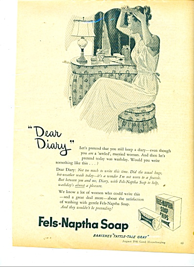 1946 Fels Naptha SOAP AD Art WOMAN at Mirror (Image1)