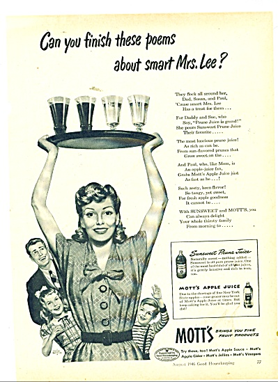 1946 Mott's Fruit Products AD FRANK BENSING (Image1)
