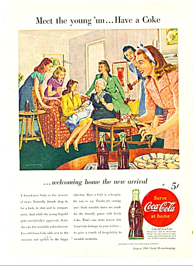 1946 Coke COCA COLA AD NEW BABY COMES HOME (Image1)
