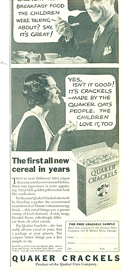1932 Quaker Crackels Cereal Ad Cool Pics
