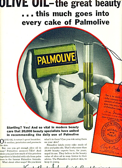 1932 Palmolive SOAP AD Green Olive Oil (Image1)