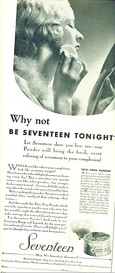 1932 Seventeen two tone powder AD Starlet Pic (Image1)