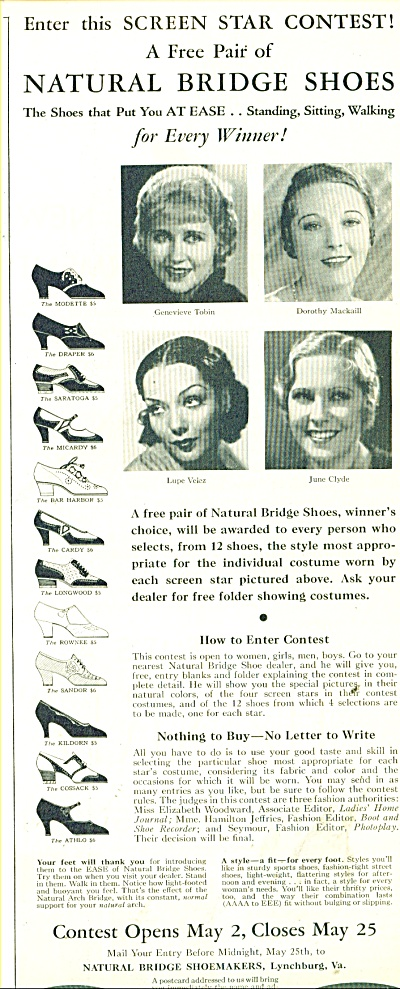 1932 Natural bridge shoes ad SCREEN STARS (Image1)