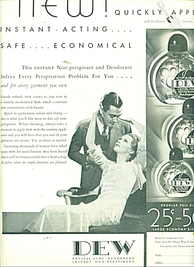 1932 Dew Deodorant Ad Pic Couple In Love