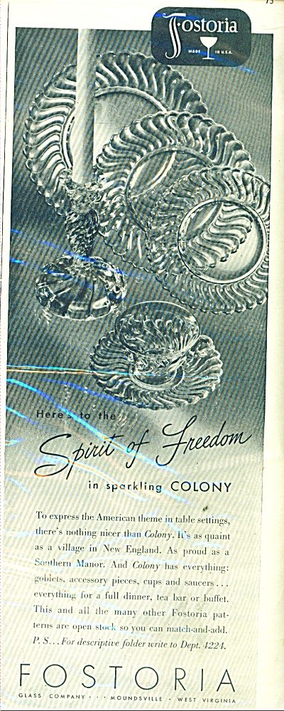 1941 Fostoria crystal ad COLONY Glass Pattern (Image1)