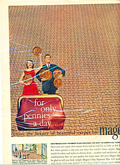 1946 MAGEE Carpet AD Treadway Pattern PENNIES (Image1)