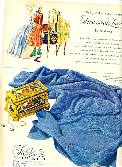 1952 Fieldcrest Towel Ad Cloissone Box