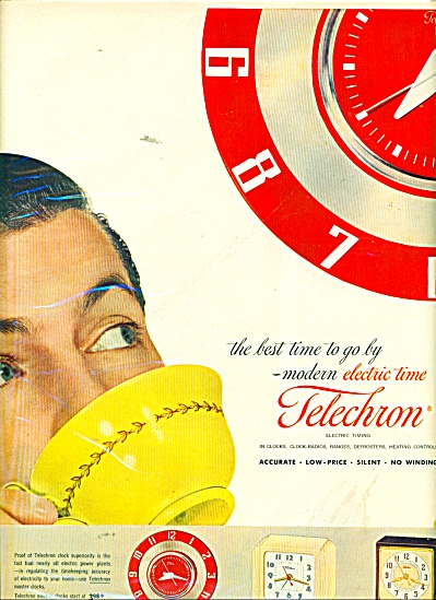 1953 RETRO Telechron Kitchen Mantle CLOCK AD (Image1)