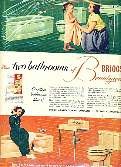 1953 Briggs Bathroom AD Little Girls in Towel (Image1)