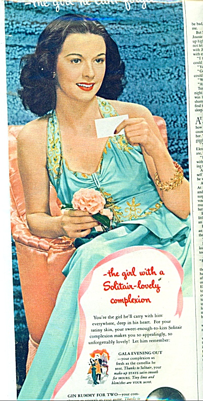 1945 SOLITAIR MAKEUP AD LOVELY LADY (Image1)