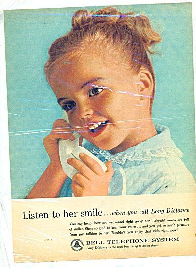 Bell Telephone system ad 1963 LISTEN TO HER SMILE (Image1)