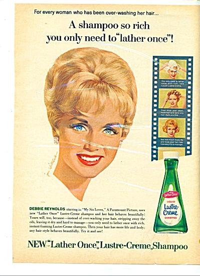 Lustre Creme shampoo ad 1963 DEBBIE REYNOLDS (Image1)