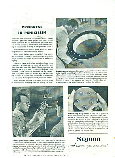 1945 SQUIBB Drug AD  PROGRESS in PENICILLIN (Image1)