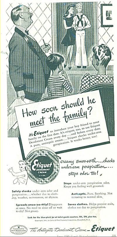 1945 ETUQUET Cream AD GIRL BRINGS HOME SAILOR (Image1)