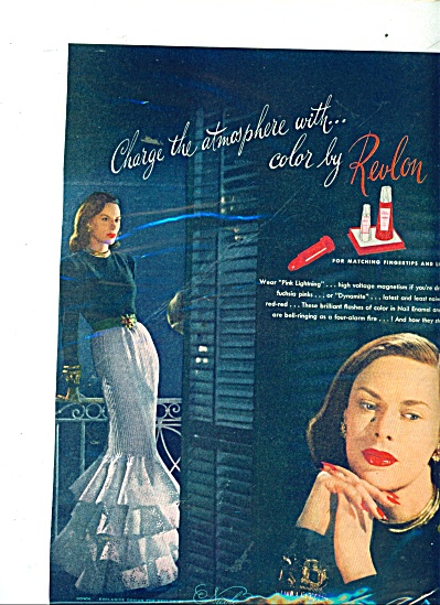 1945 Revlon PINK LIGHTENING Cosmetics AD (Image1)