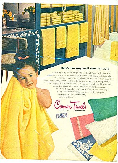 1945 CANNON Towel AD LITTLE GIRL in BATHROOM (Image1)