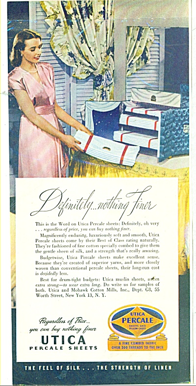 1950's Utica Percale Sheets Ad
