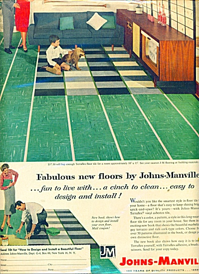 1958 JOHNS MANVILLE ASBESTOS Tile FLOOR AD (Image1)