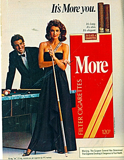1980 More Cigarettes Ad Beautiful Woman Pool