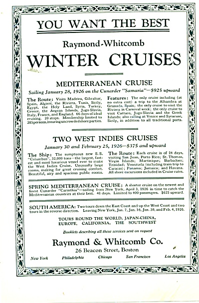 Raymond & Whitcomb Co. - Cruises 1926 (Image1)
