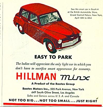 RARE 1950 Hillman MINX Car Automobile AD (Image1)