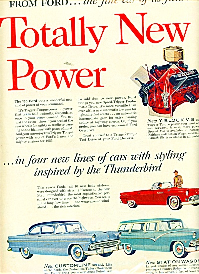 Ford Automobiles For 1955 Ad