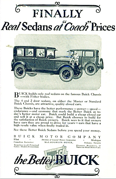 1925 BUICK Promo CAR AD Vintage Art SEDANS (Image1)