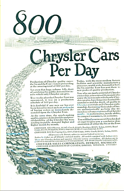1925 Chrysler CAR PROMO Automobile AD (Image1)