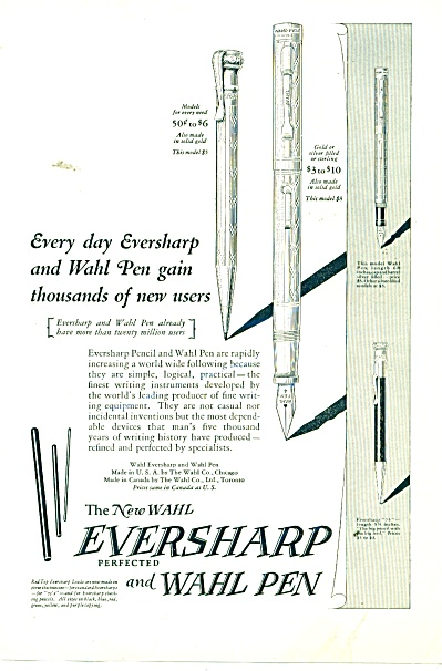 The new Wahl Eversharp andWahl Pen ad 1925 (Image1)