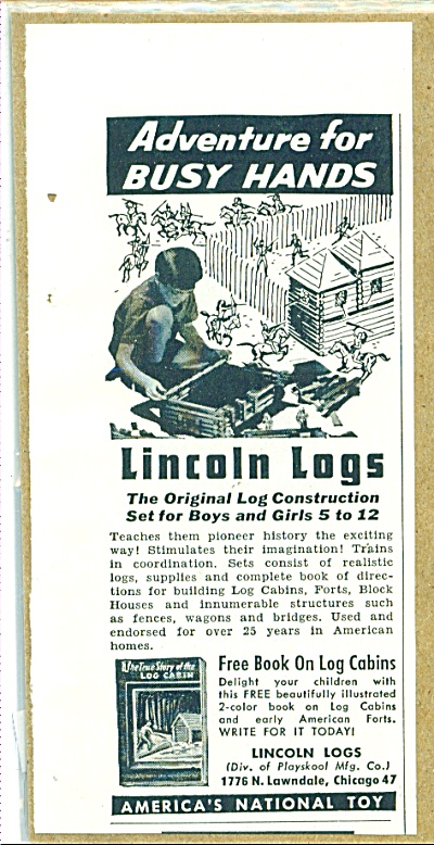 aMERICA'S nATIONAL TOY - Lincoln logs ad 1952 (Image1)