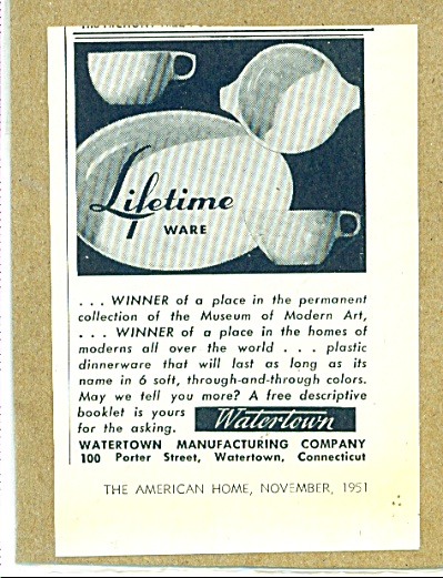Watertown - Lifetime ware ad 1951 (Image1)