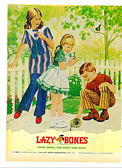 1974 Lazy Bones shoes for boys and girls. ad (Image1)