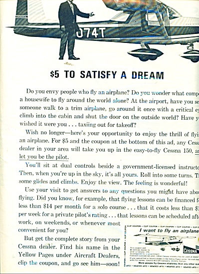 1963 Cessna Airplane Print AD $5 to SATISFY a DREAM (Image1)