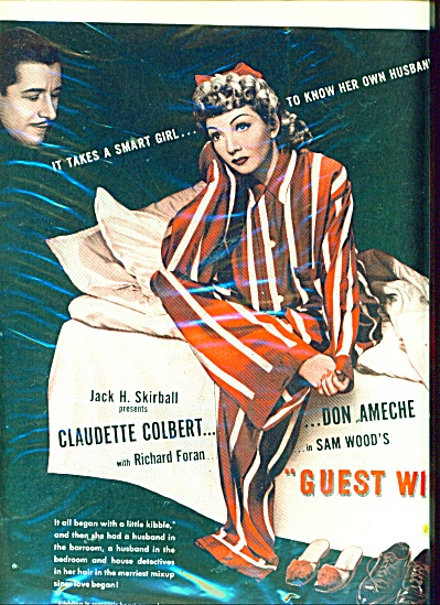 1945 Movie AD  GUEST WIFE  CLAUDETTE COLBERT (Image1)