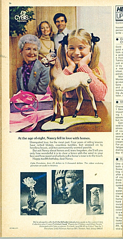 1977 Cybis Porcelain ad Nancy and HORSE (Image1)