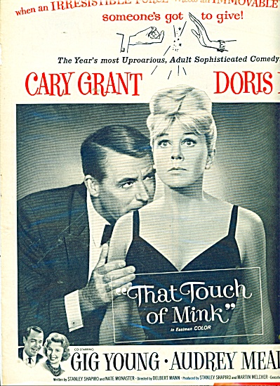 1962 Touch Of Mink Ad Cary Grant Doris Day