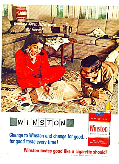1965 Winston Cigarettes Ad Couple Crossword