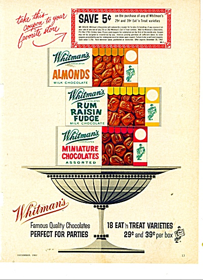 Whitman's quality chocolates ad 1962 (Image1)