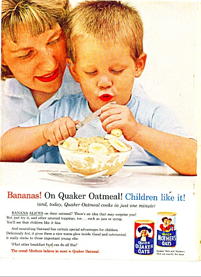 1962 QUICK Quaker Mother OATS AD BOY - BANANA (Image1)