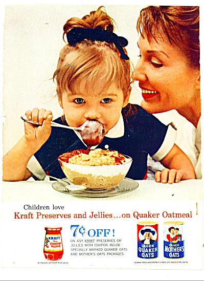 1962 QUICK Quaker Mother OATS AD Cute GIRL #2 (Image1)
