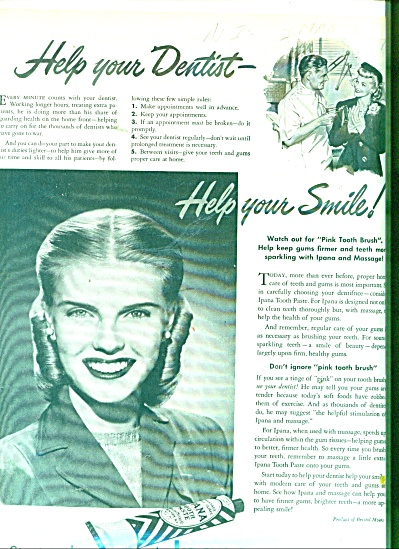 1944 IPANA Tooth Paste AD Beautiful Woman (Image1)