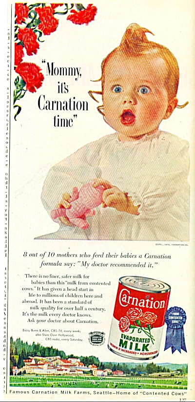1954 Carnation Evaporated MILK AD Redhead (Image1)