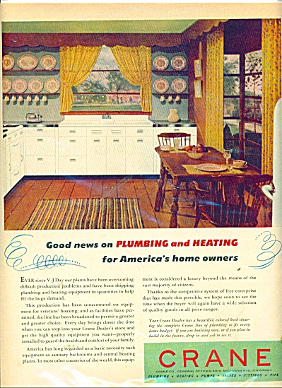 1946 Crane Plumbing - Heating AD KITCHEN DESI (Image1)