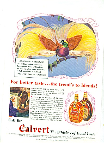 1939 Calvert whiskey ad BIRD of PARADISE ART (Image1)