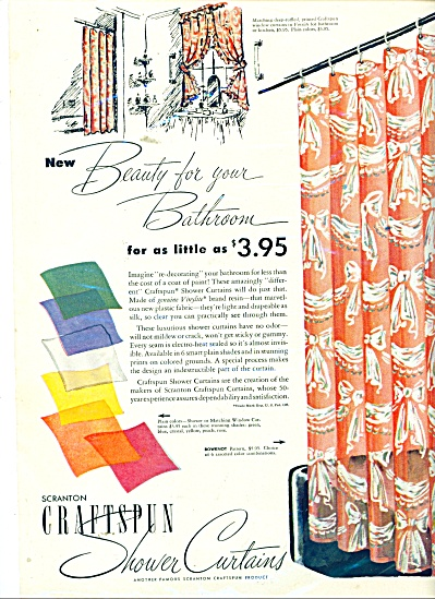 Scranton Craftspun shower curtains ad 1946 (Image1)