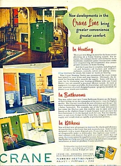 1946 Crane Plumbing - Heating AD DESIGN (Image1)